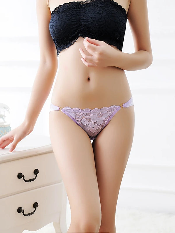 Women's Super Sexy Briefs - Lace, Solid Colored / Jacquard Low Waist Red Beige Purple One-Size / Going out / Club