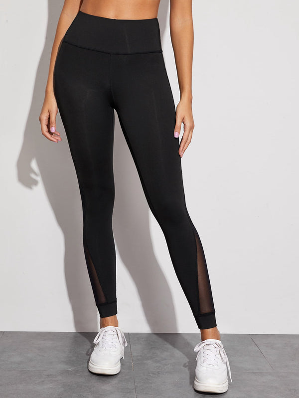 Mesh Panel Elastic Waist Sports Leggings