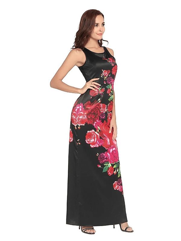 Women's Going out Weekend Maxi Swing Dress - Floral High Waist Black