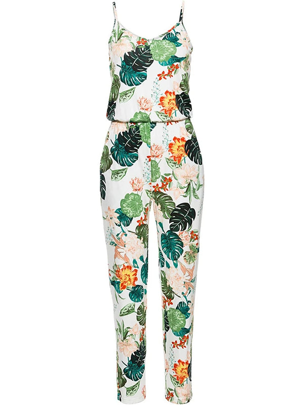 Women's Floral Holiday / Going out / Beach Boho Strap Green White Jumpsuit, Leaf / Vintage Classic / Holiday / Print High Rise Sleeveless Spring Summer