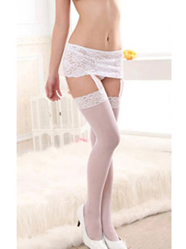 Women's Thin Stockings / Garters & Suspenders - Solid Colored Thin White Black One-Size