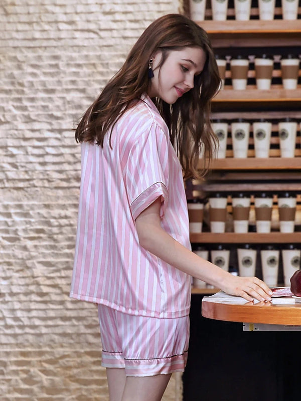 Women's Shirt Collar Suits Pajamas Geometric