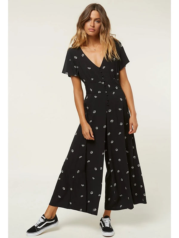Women's Floral Going out Street chic V Neck Black Wide Leg Jumpsuit, Floral Spring Summer