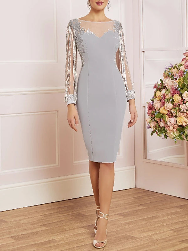 Sheath / Column Bateau Neck Knee Length Tulle / Charmeuse Mother of the Bride Dress