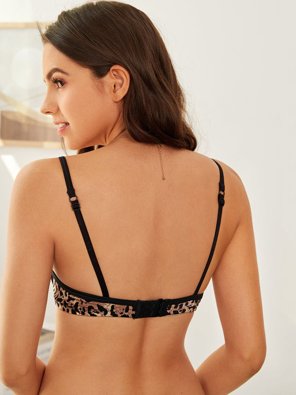 Leopard Lace Up Front Underwire Bra