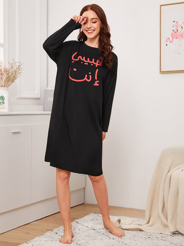 Graphic Print Long Sleeve Night Dress