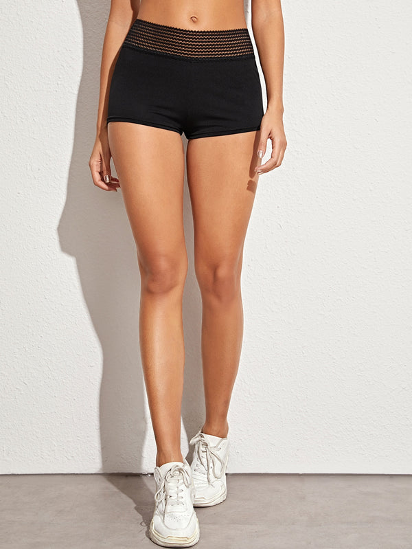 Solid Ruched Detail Sports Shorts
