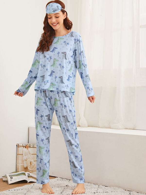 Cartoon Dinosaur Print PJ Set & Eye Mask