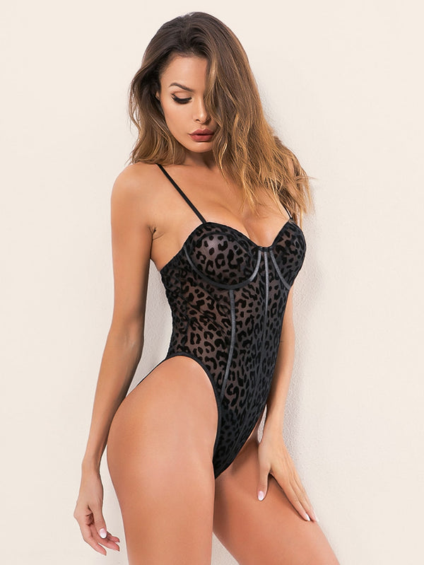 Leopard Sheer Mesh Teddy Bodysuit