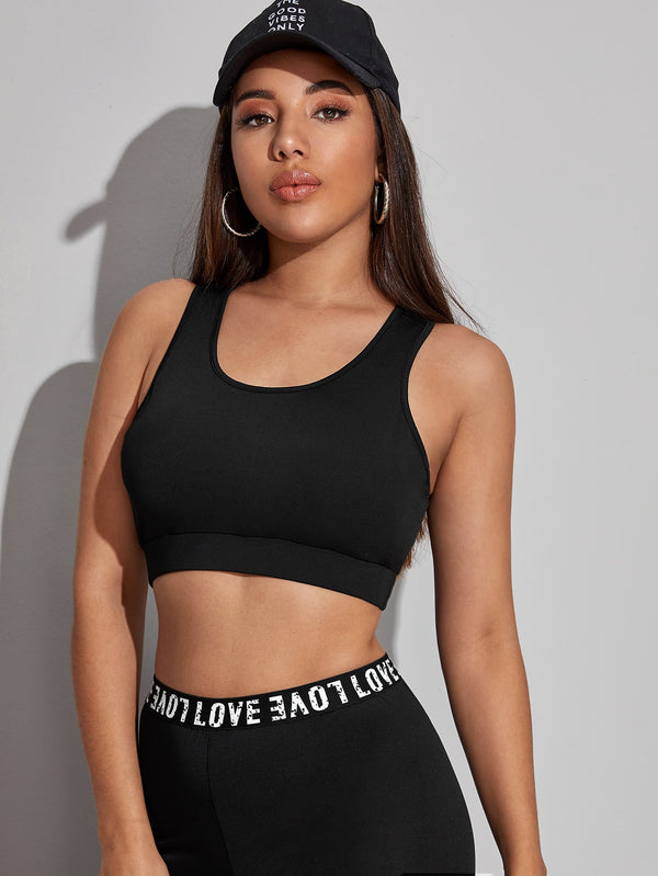 V-cut Strappy Back Sports Bra