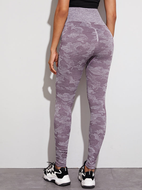 Space Dye Wide Band Waist Sports Leggings