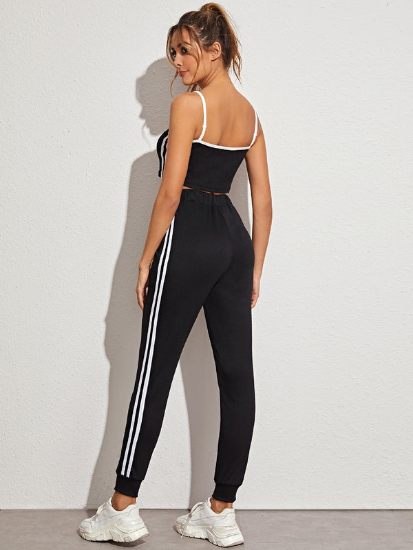 Striped Side Contrast Trim Cami Top With Sweatpants
