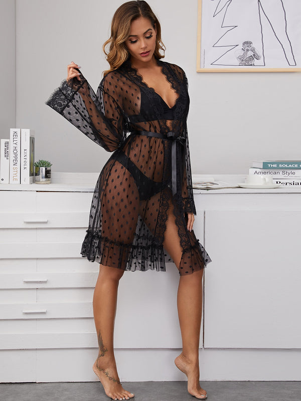 Polka Dot Contrast Lace Sheer Mesh Robe With Belt