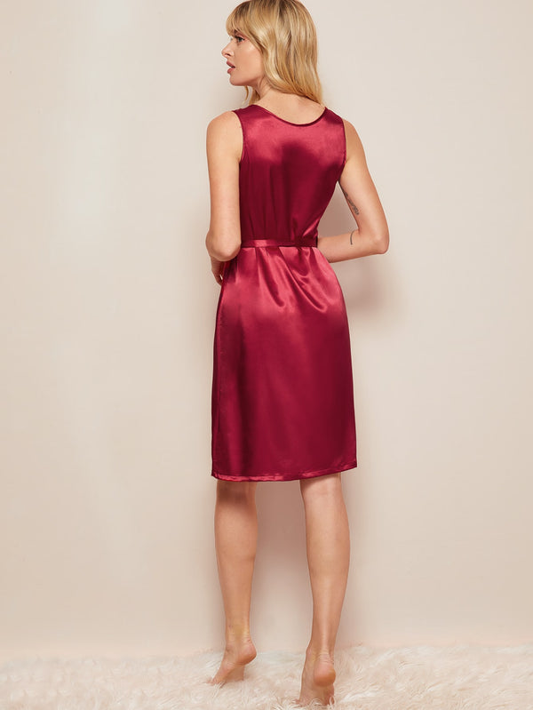 Button-up Belted Satin Night Dress