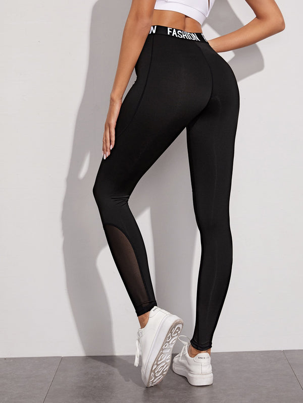 Letter Tape Mesh Panel Sports Leggings