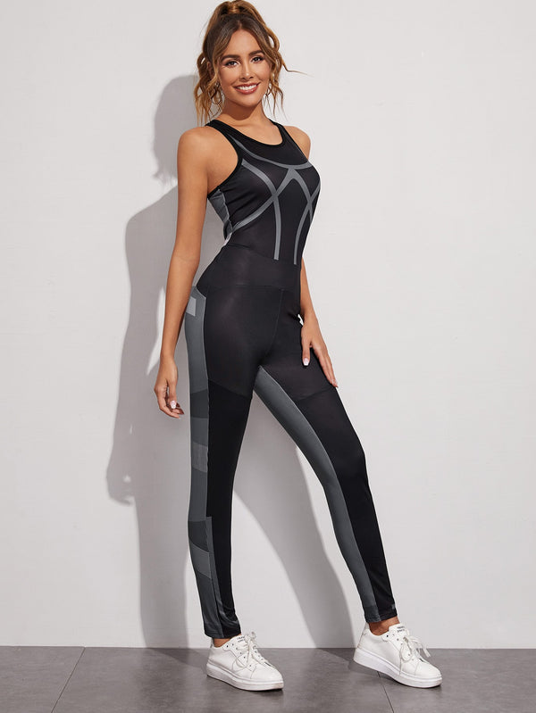 Cut And Sew Sports Unitard Jumpsuit