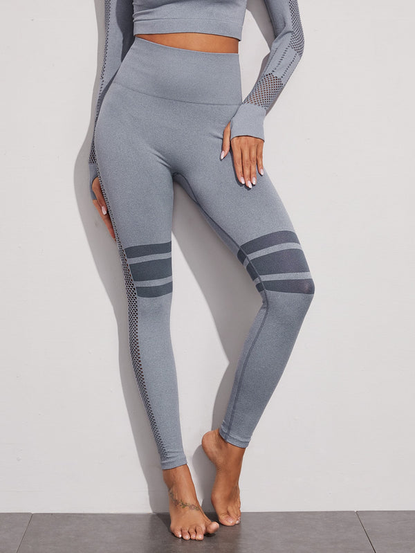 Striped Hollow Out Sports Leggings