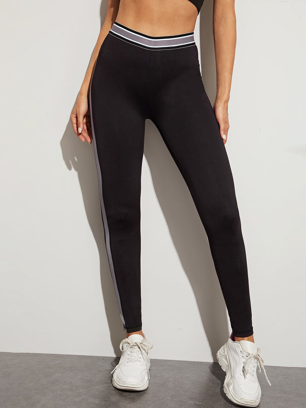 Contrast Side Panel Striped Sports Leggings