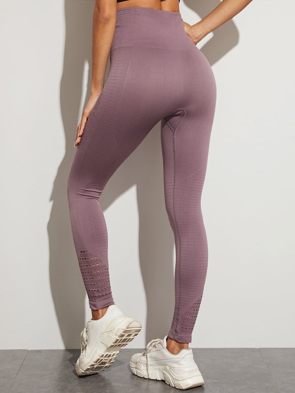 Hollow Wide Waistband Sports Leggings
