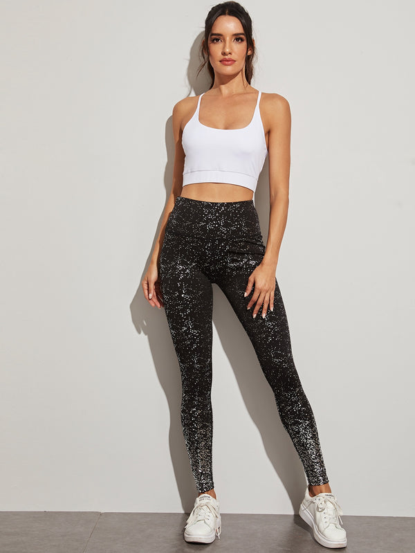 All Over Print Wide Waistband Sports Leggings