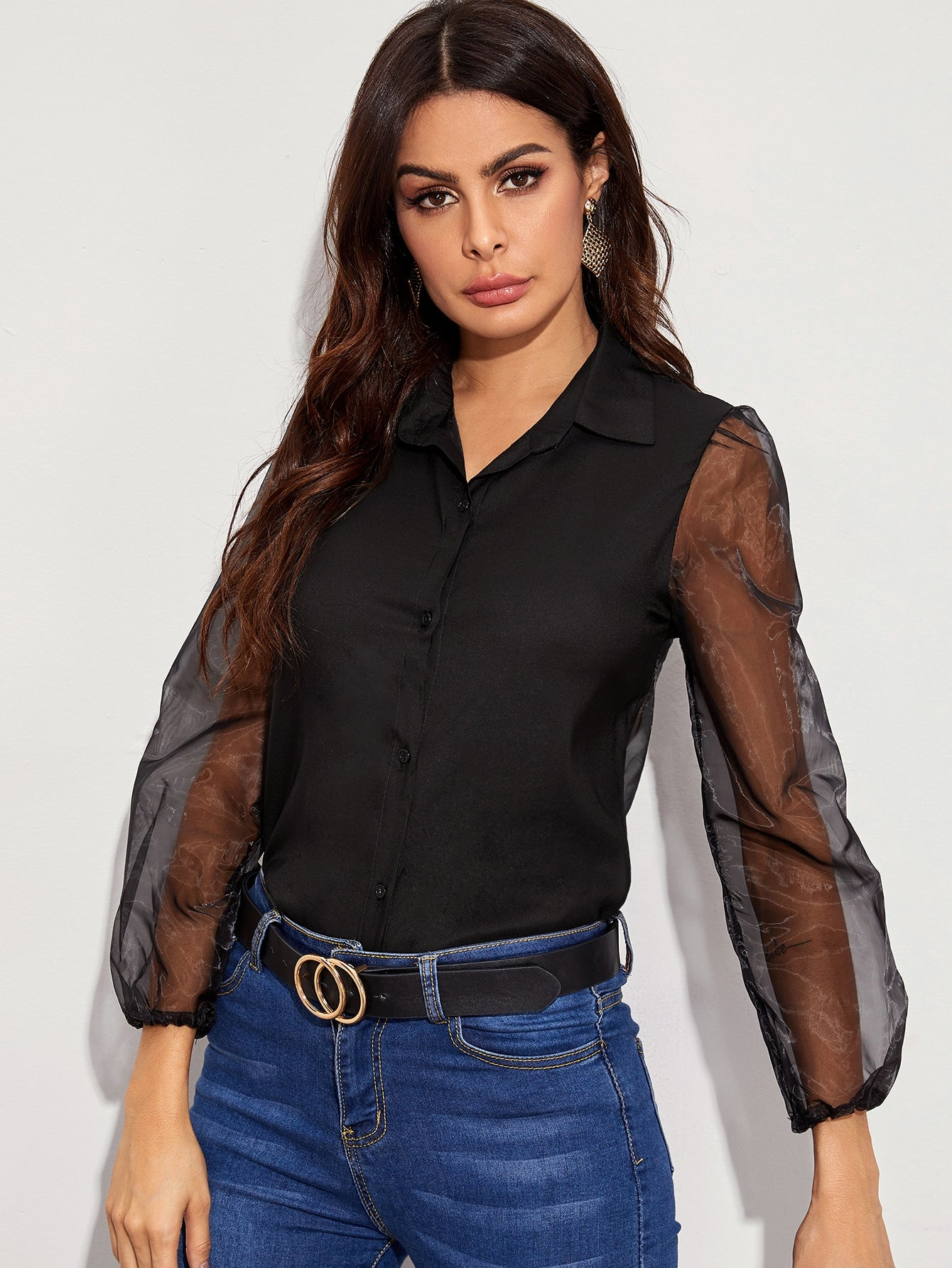 Button Up Sheer Organza Blouse