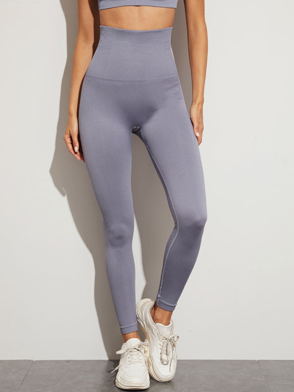 Wide Waistband Topstitching Sports Leggings