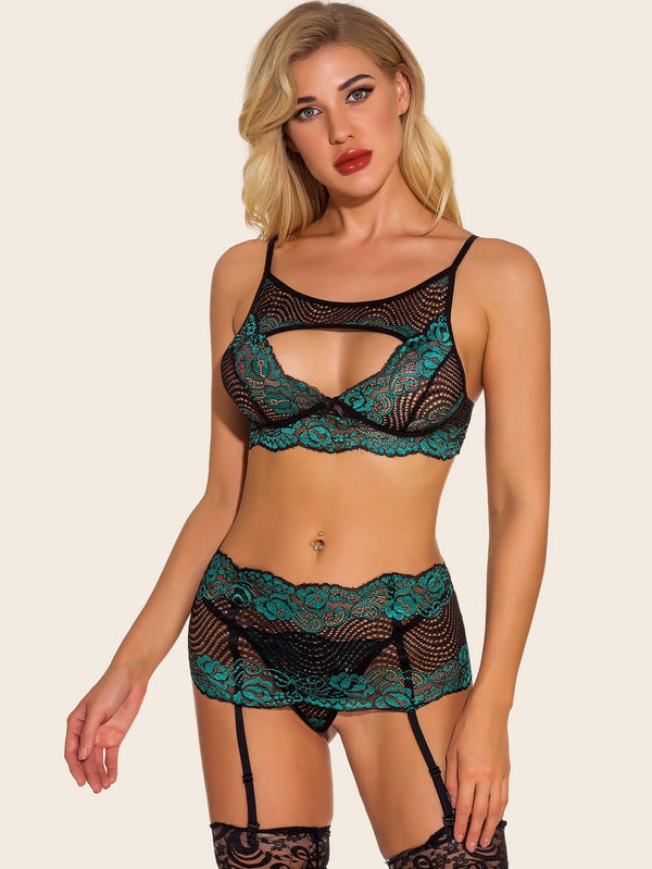 Floral Lace Lingerie Set With Garter