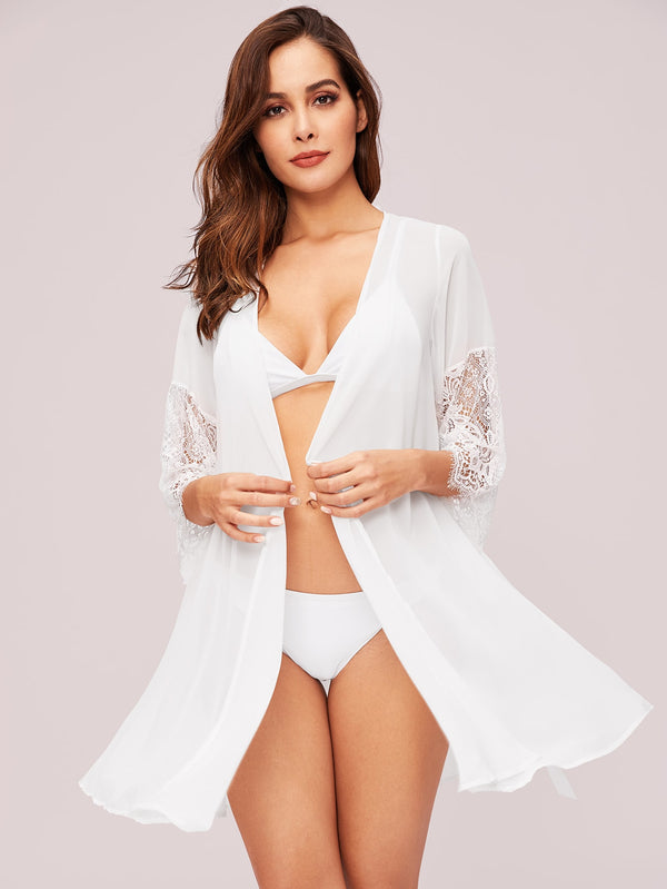 Lace Panel Self Tie Sheer Night Robe Without Lingerie