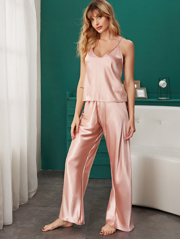 Satin Solid Cami Pajama Set