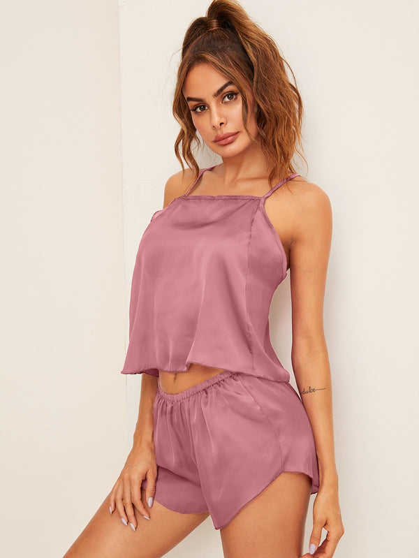 Criss Cross Back Satin Cami PJ Set