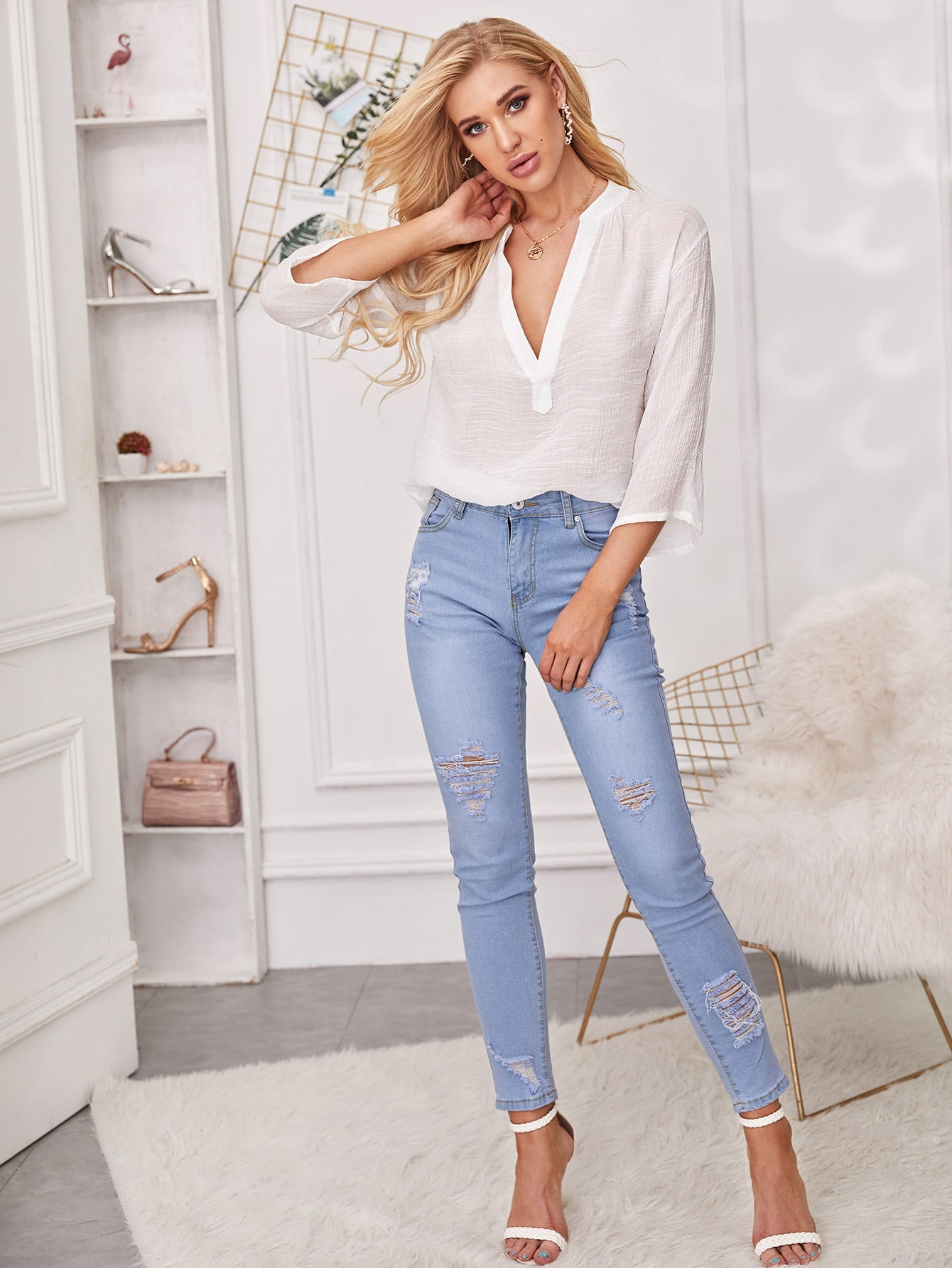 Deep V Neck Sheer Blouse