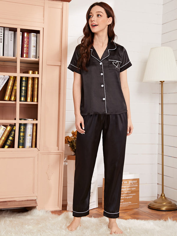 Satin Heart Print Pocket Piping Trim PJ Set