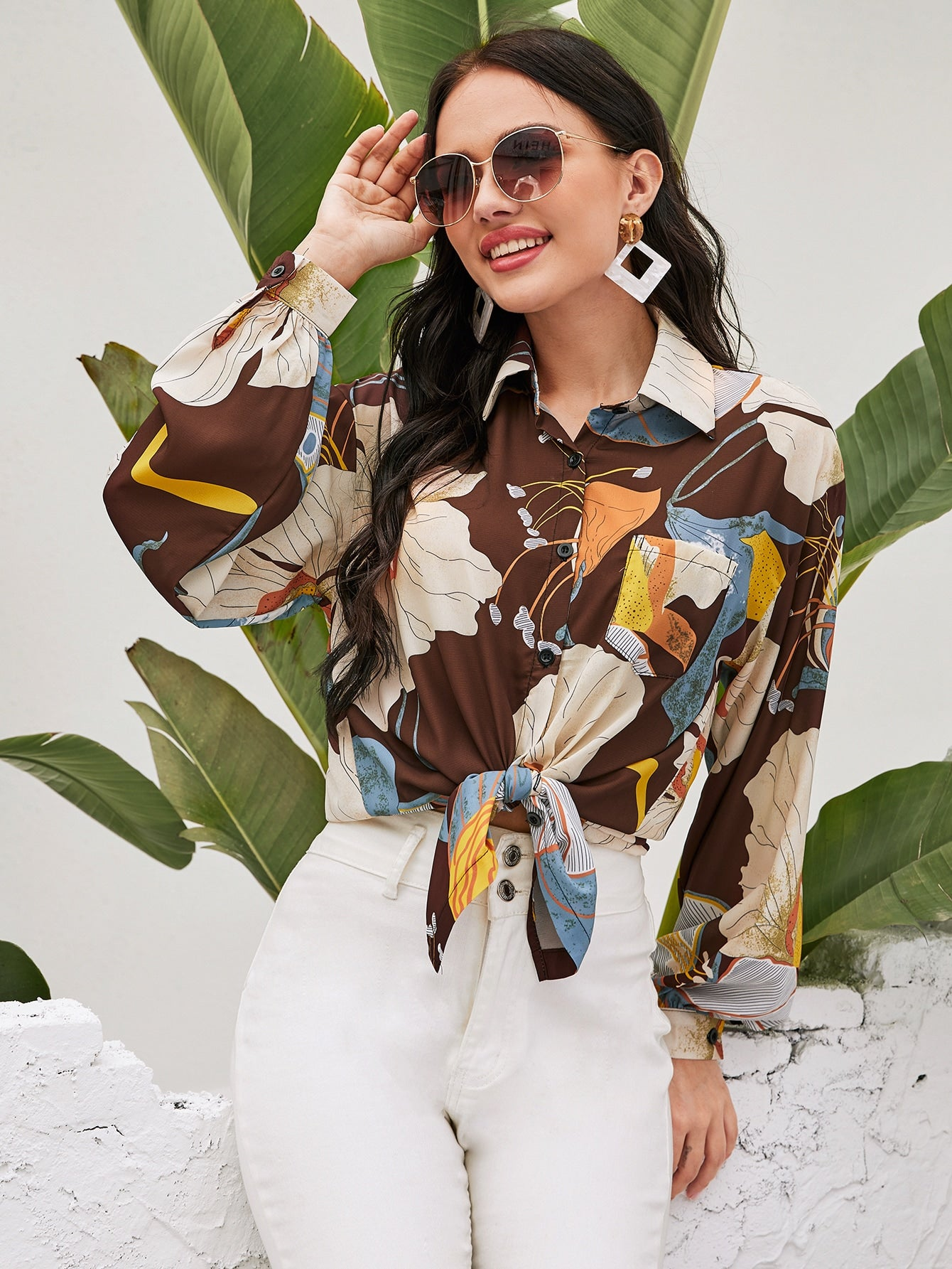 High Low Floral Print Button Up Blouse