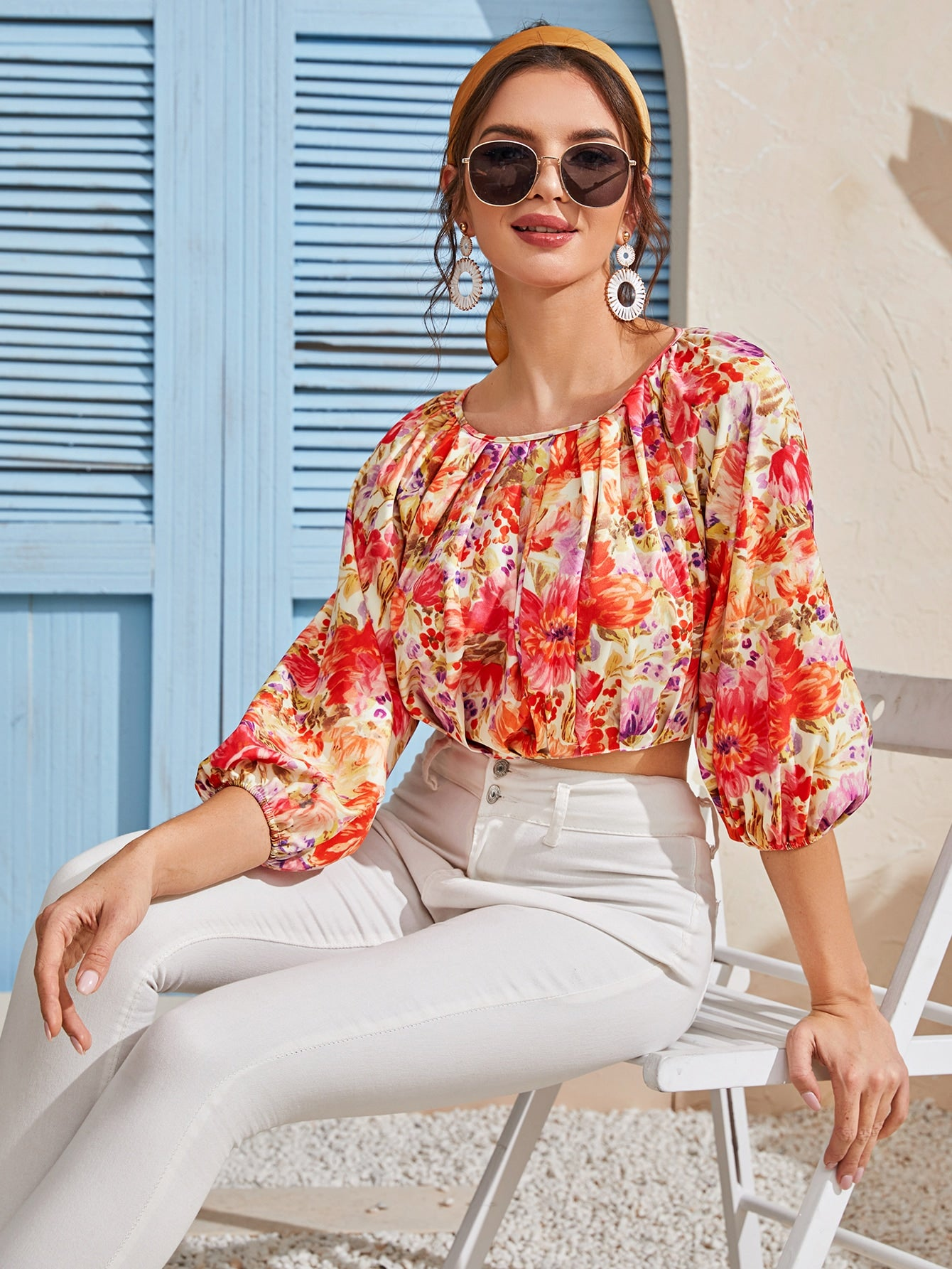 Bishop Sleeve Floral Print Crop Blouse