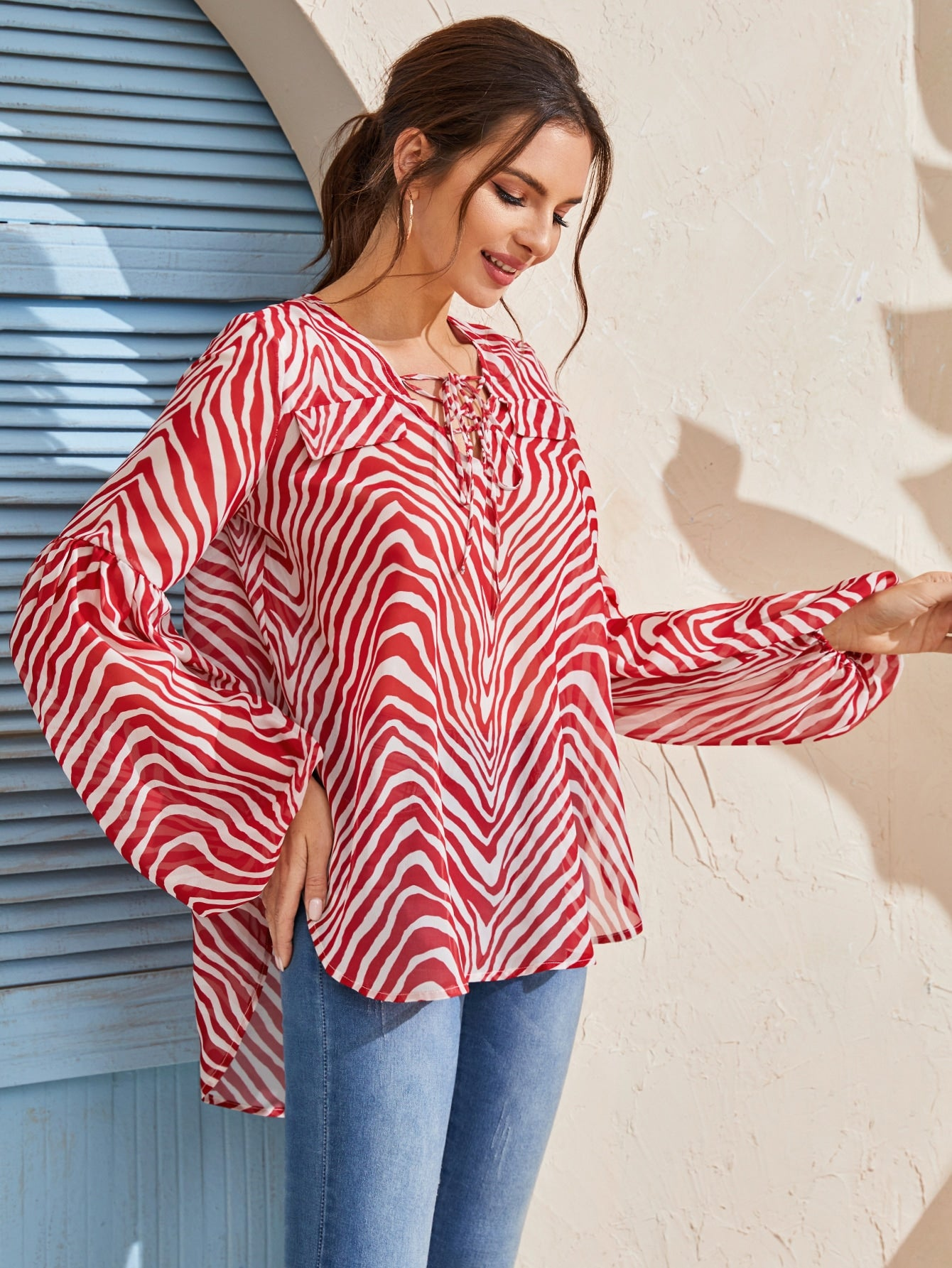 Zebra Striped Tie Front Chiffon Blouse