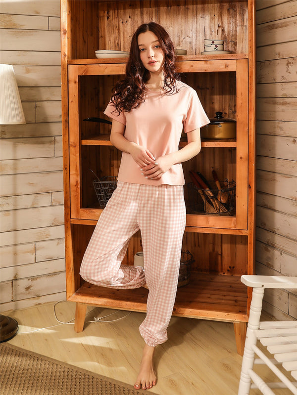 Solid Tee & Gingham Pants PJ Set