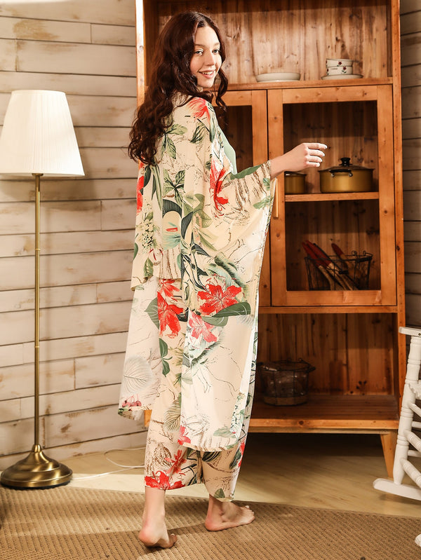 4pcs Tropical Print Ribbon Bow PJ Set & Robe