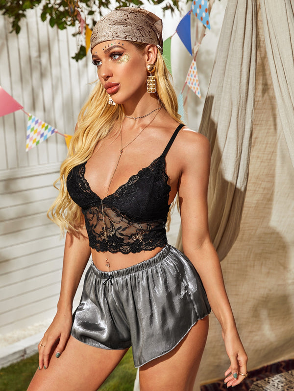 Lace Cami Top & Satin Shorts PJ Set