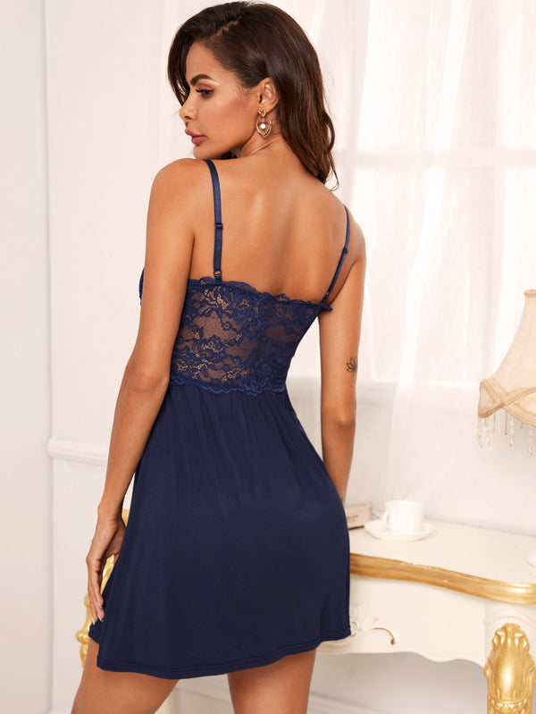 Contrast Lace Bow Detail Solid Cami Night Dress