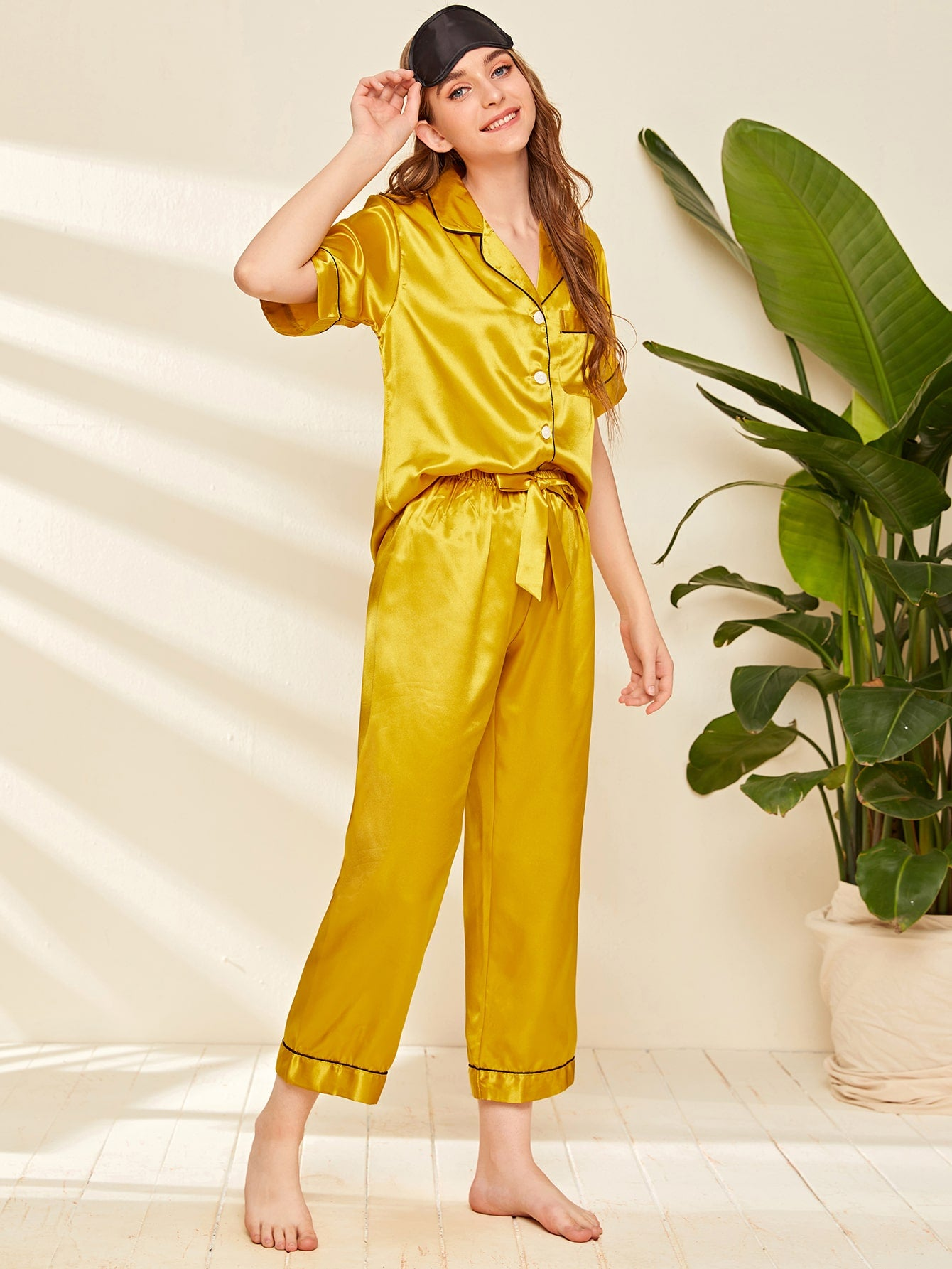 Contrast Binding Bow Satin PJ Set & Eye Mask