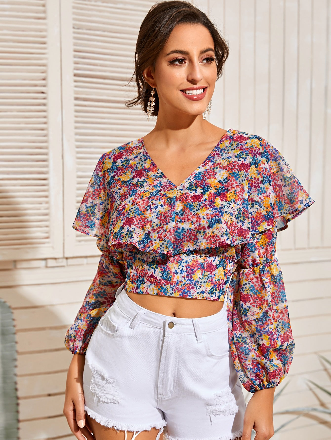 All Over Print Ruffle Crop Blouse