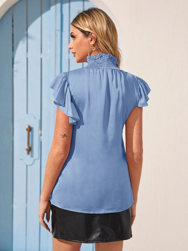Shirred High Neck Ruffle Trim Keyhole Blouse