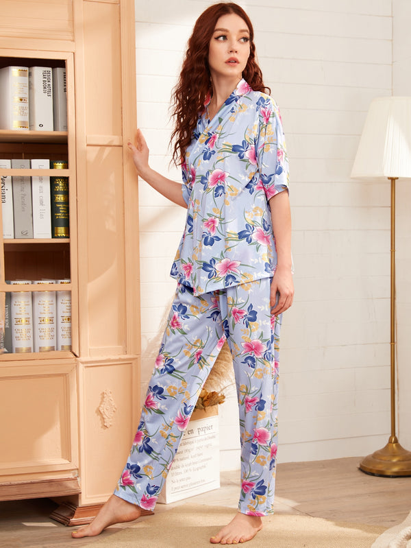 Floral Print Tie Side Wrap PJ Set