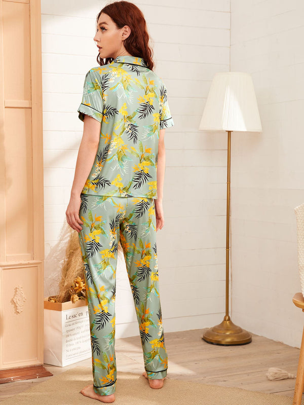 Plants Print Pocket Front PJ Set