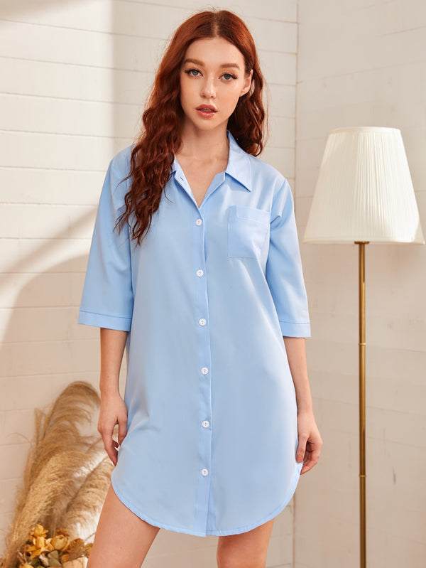 Solid Button Up Pocket Front Night Dress