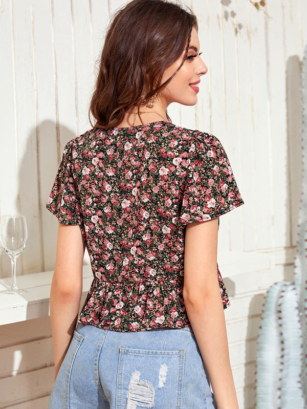 Allover Floral Tie Front Ruffle Hem Top