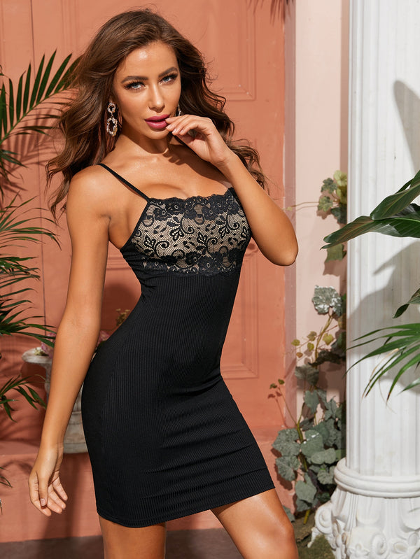 Lace Panel Rib Knit Bodycon Cami Night Dress