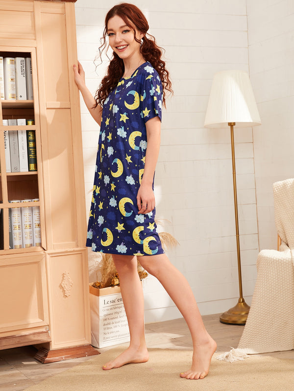 Cartoon Galaxy Print Night Dress
