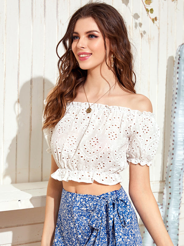 Solid Frill Crop Schiffy Blouse