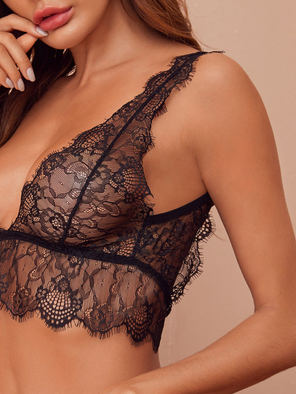 Floral Lace Scalloped Trim Lingerie Set
